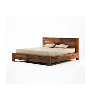 Dipan / Tempat Tidur Jati Minimalis Modern Seri Regina