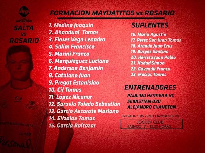Formación de Salta para enfrentar a Rosario #ArgentinoJuvenil