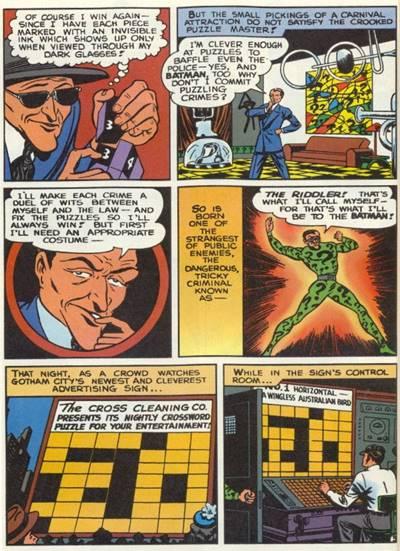 sejarah Asal-Usul Riddler, Musuh Batman