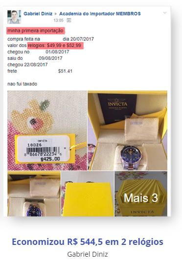 imagem com fotos dos produtos comprados pelo cliente do curso