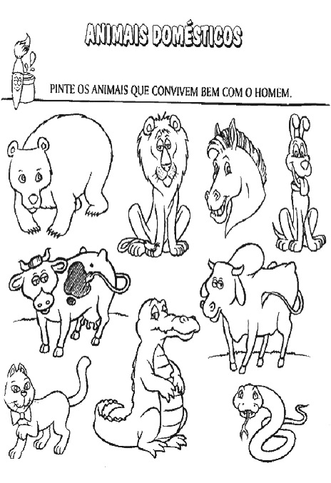 animais selvagens e domÉsticos atividades para imprimir e colorir