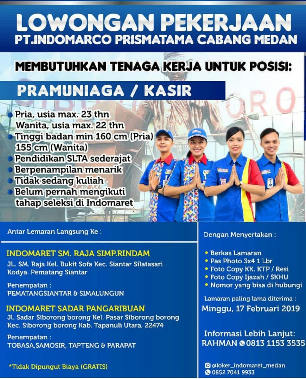 Loker Medan Terbaru PRAMUNIAGA/KASIR di Indomaret ...
