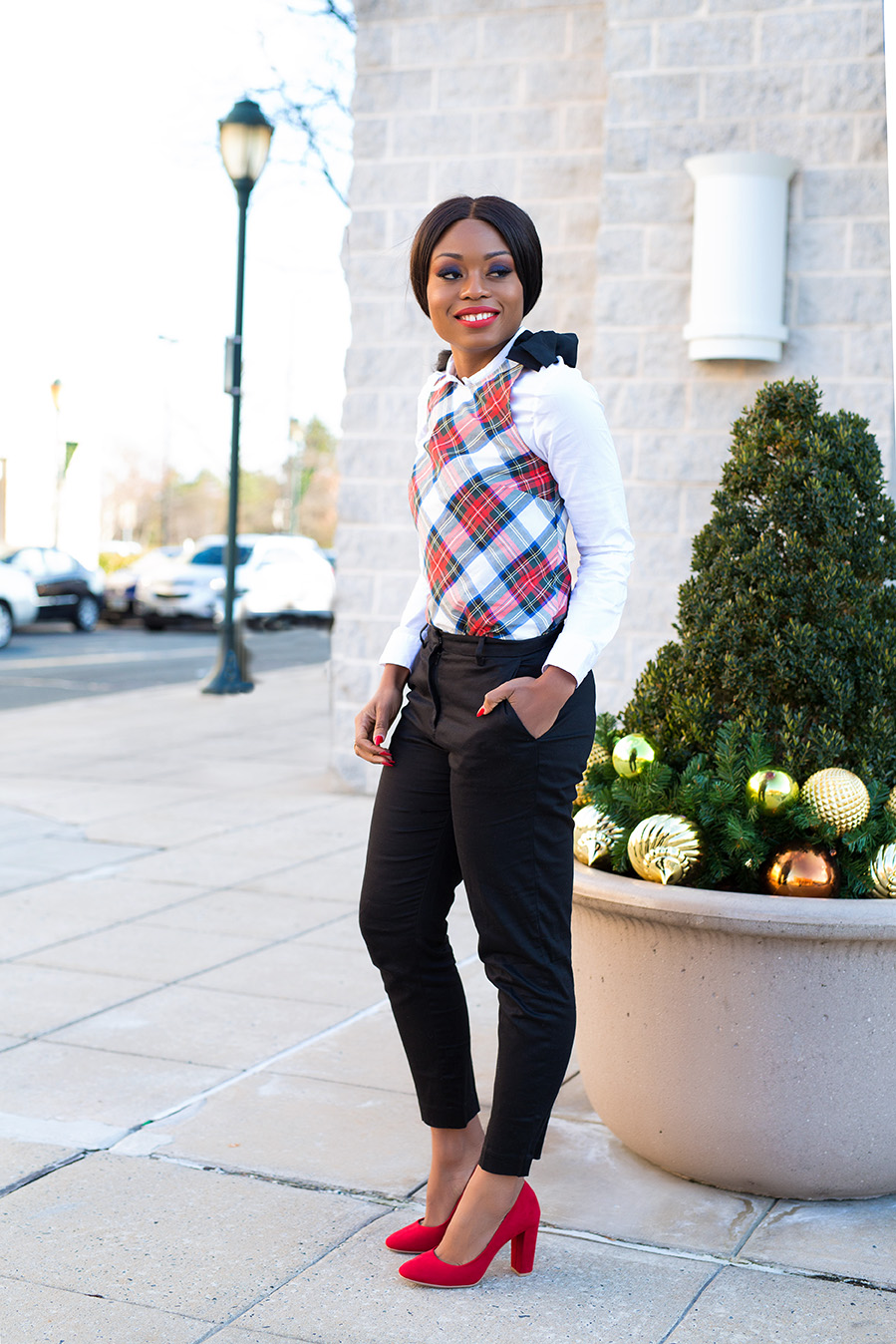 festive plaid and block heels, www.jadore-fashion.com