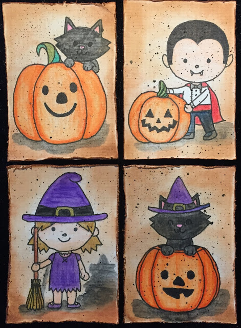 Halloween ATC's (Artist Trading Cards): cat, pumpkin, Dracula, witch.