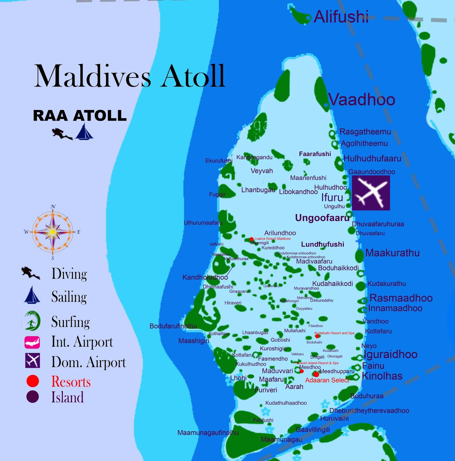 Maldives Atoll RAA ATOLL Island name resorts and hotel Travel