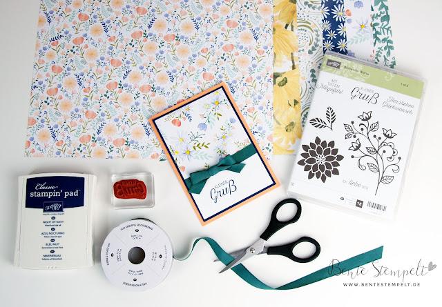 Stampin Up DSP Designerpapier gemustertes Gänseblümchen Daisy Karte Kleiner Gruß