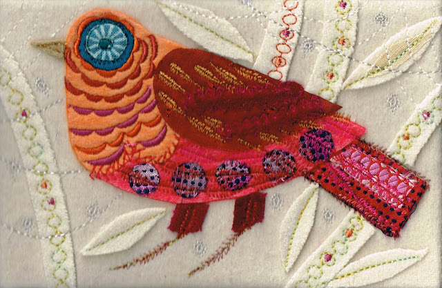 Orange Cuckoo Machine Embroidery using velvets and silks, applique, wool base