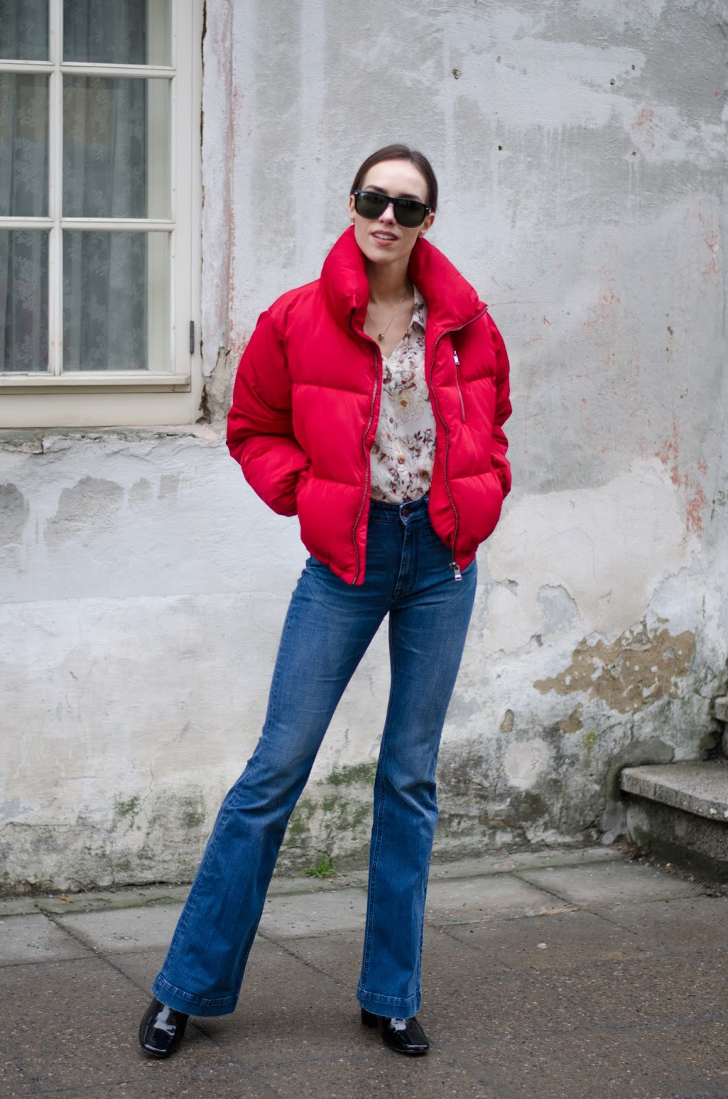puffer jacket outfit flare jeans