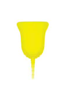 黄色の月経カップ