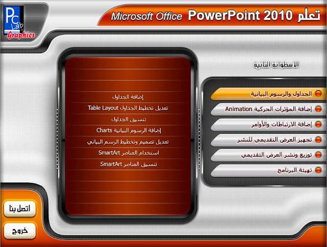 اسطوانتين تعليم بوربوينت 2010 PowerPoint صوت وصورة باللغة العربية