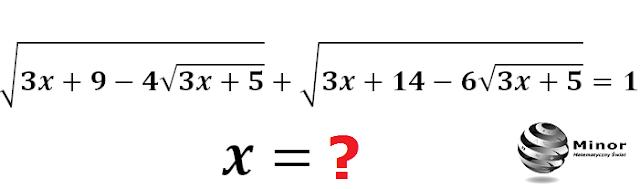 Równanie pierwiastkowe, które jest równoważne równaniu z podwójną wartością bezwzględną i wprowadzeniem zmiennej pomocniczej t.