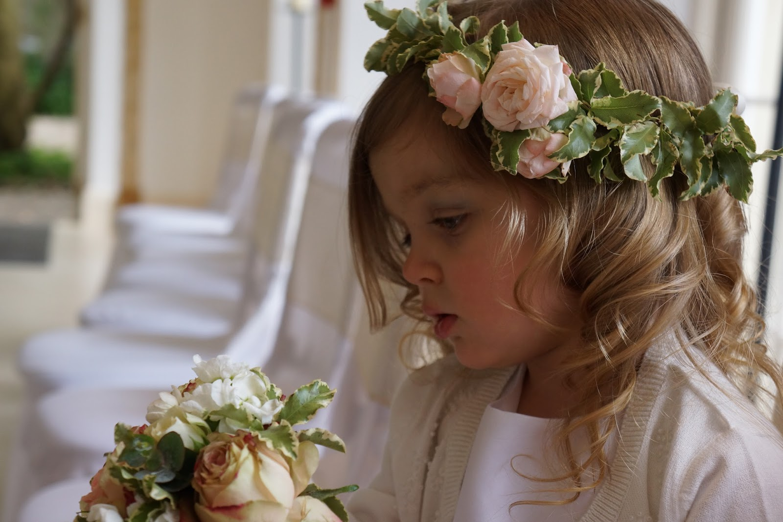 toddler wedding flower girl with antique vintage grecian flower crown