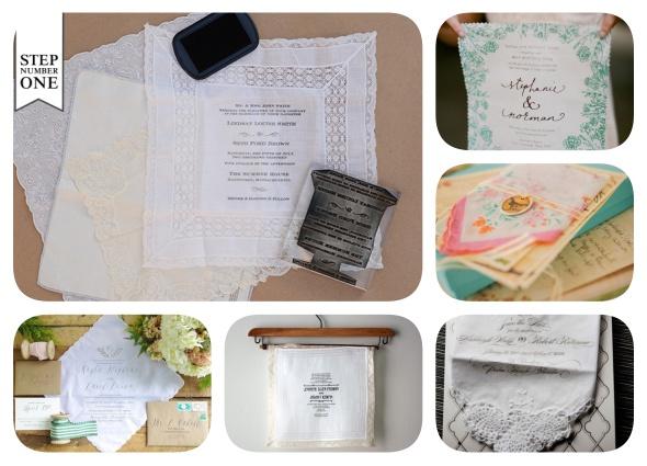 invitaciones con pañuelos, papel fotográfico de tela, manualidades