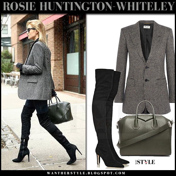 Rosie Huntington-Whiteley in tweed saint laurent angie blazer, black suede sergio rossi matrix boots with dark green bag givenchy antigona what she wore