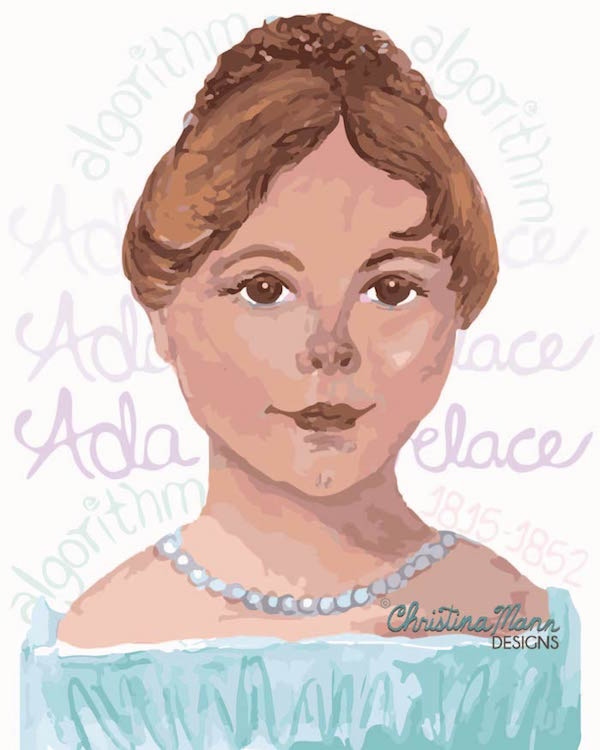 Ada Lovelace as a Child: First Computer Programmer | Artwork by Christina Mann Designs