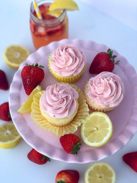 Strawberry Lemonade Cupcake Recipe. Lemon cupcakes with strawberry puree buttercream frosting. Beautiful summer dessert