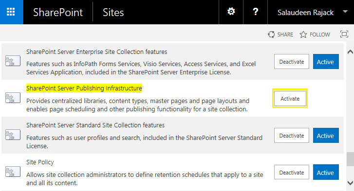 sharepoint 2013 enable publishing infrastructure powershell