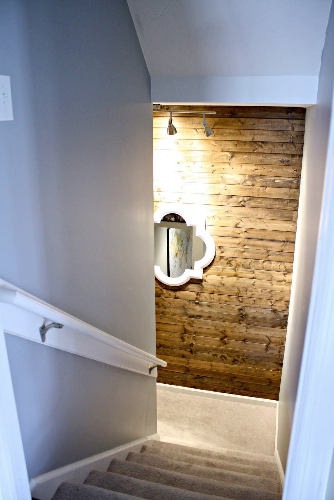 Basement Stair Landing Decorating: How To Add The Shiplap Look To Your Home (for A Lot Less