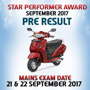 Star Performer Award |  September 2017 |  PRE Result