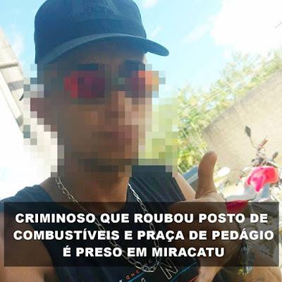POLÍCIA MILITAR EFETUA A DETENÇÃO DE CRIMINOSO PROCURADO POR EFETUAR ROUBO NO POSTO FAZENDEIRO E PRAÇA DE PEDÁGIO DE MIRACATU