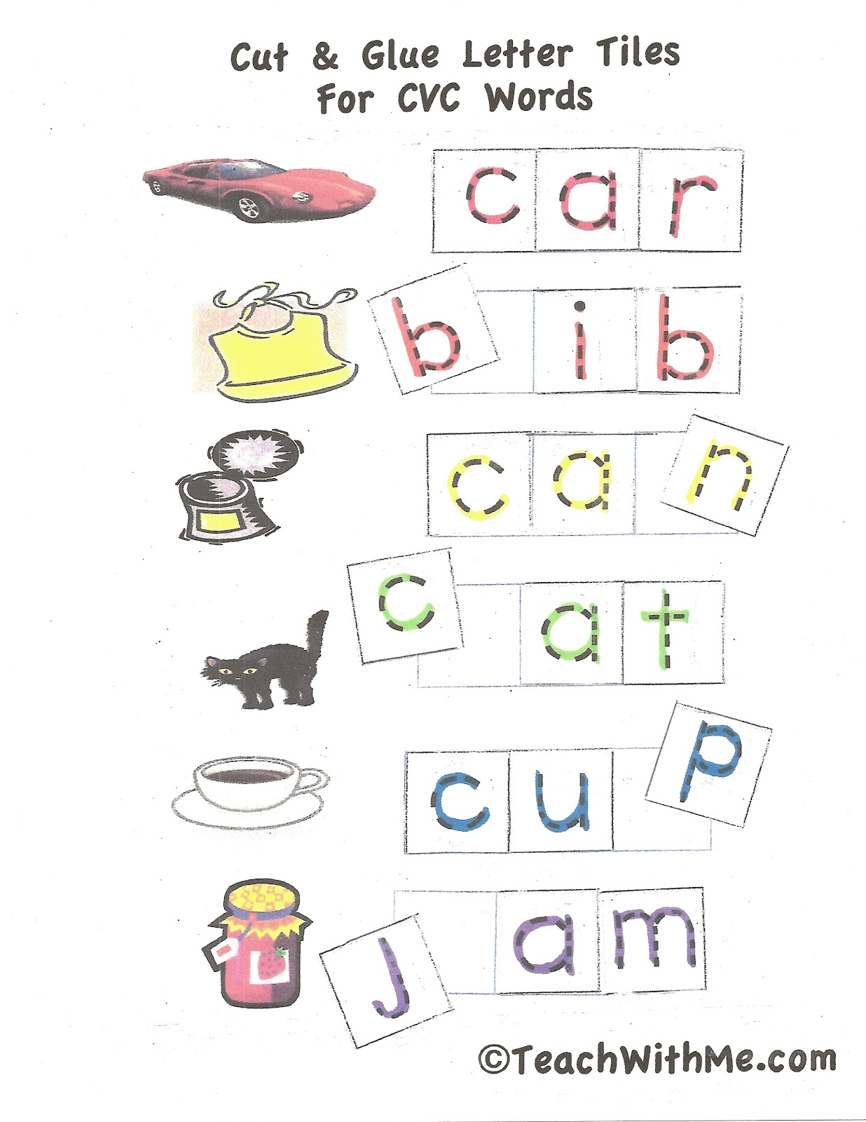 Cut Amp Glue Letter Tiles For Cvc Words