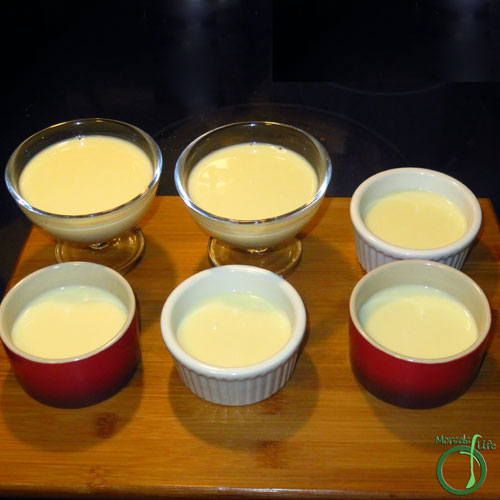 Morsels of Life - Mango Panna Cotta Step 5 - Pour into serving containers, and refrigerate until set. I wasn't sure which containers I wanted to serve the mango panna cotta in, so I used a variety. :)