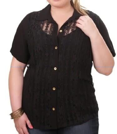 b2eb80f04 Gordinhas Moda Maior: Camisa Em Renda E Chiffon Preto Plus Size Moda ...