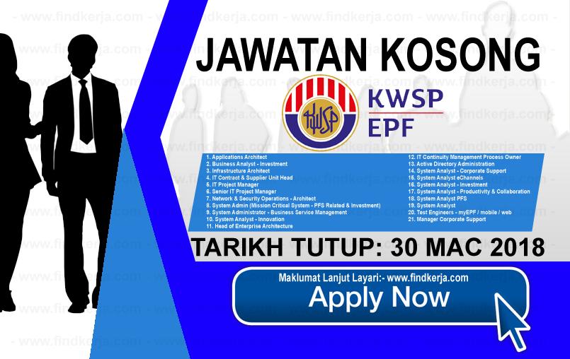 Jawatan Kerja Kosong KWSP - Kumpulan Wang Simpanan Pekerja logo www.findkerja.com mac 2018