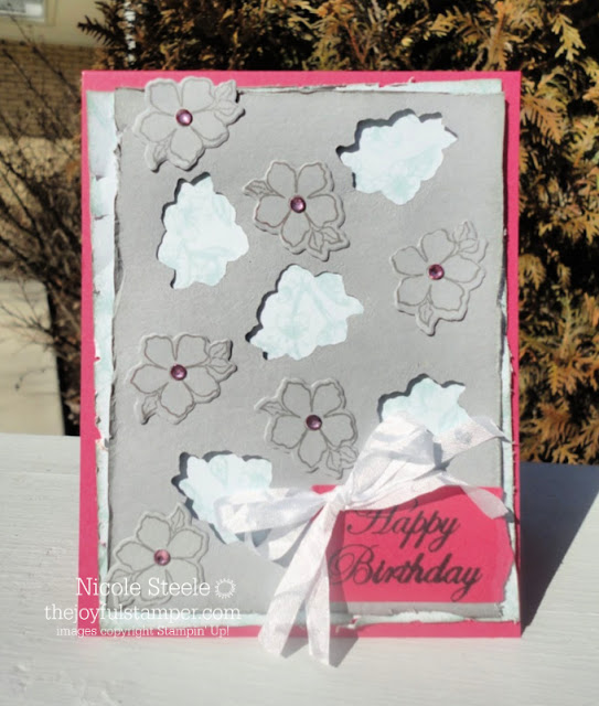 Tea Together birthday card using positive and negative Tea Time die spaces