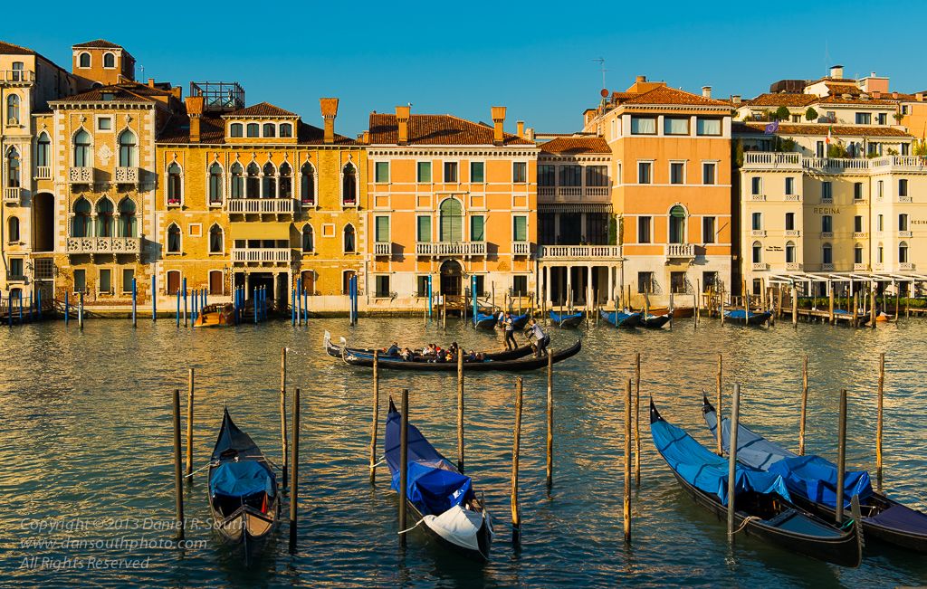 a photograph of gondolas on the grand canal in venice by daniel south