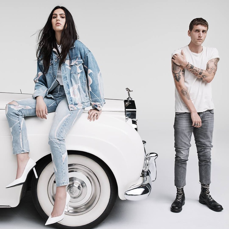 Amelia Gray Hamlin and Nathan Mitchell front Hudson Jeans spring-summer 2018 campaign