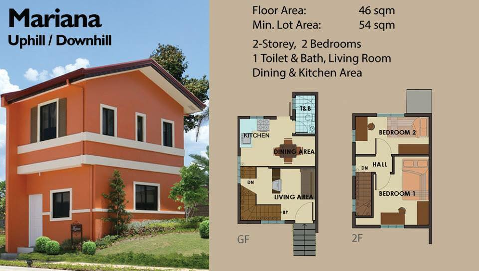 Floor Plan of Mariana Uphill - Camella Alta Silang | House and Lot for Sale Silang Cavite