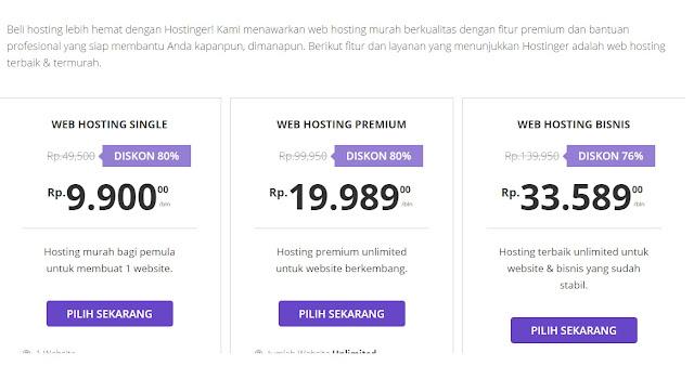 harga paket web hosting Hostinger