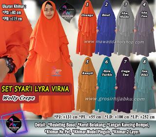 Gamis syar'i lyra virna set hijab pinguin 2 layer wollycrepe