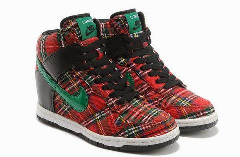 616cca7d47bd Sports Wedge Shoes  Nike Dunk Sky Hi Tartan Shoes High Tops Red Green