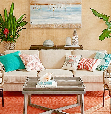Colorful Living Room Coral Turquoise