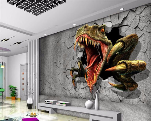 Dinosaur wall mural 2016 3D Dinosaur wall mural wallpaper photo wall paper breaking through wall