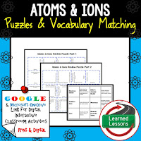 Atoms, Ions, Earth Science Review Puzzles BUNDLE, Interactive Digital Notebook, Google Link, or PRINT Version, Test Prep, Unit Review, Vocabulary Activity, Earth Science Puzzles, Vocabulary, Test Prep, Unit Review