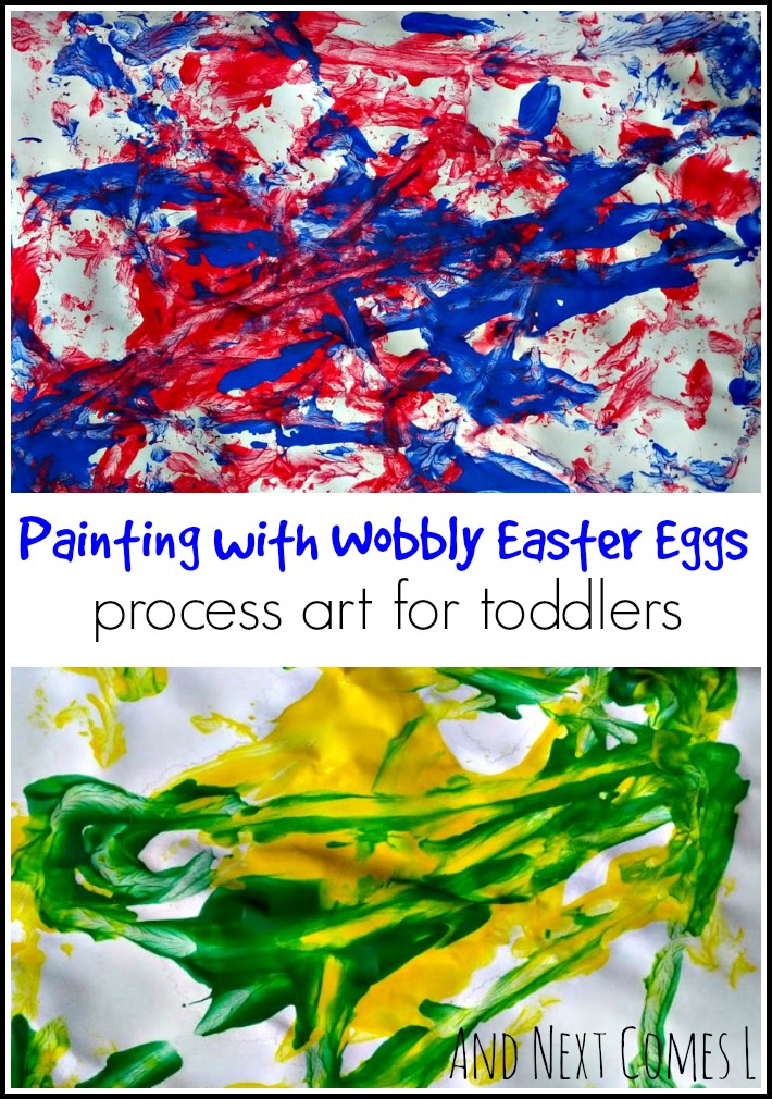 Painting with wobbly Easter eggs - process art for kids from And Next Comes L