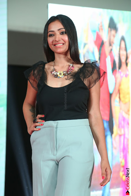 Swetha Basu in a Black Sleeveless Top Long Skirt at Mixture Potlam Movie Audio Launch 001.JPG