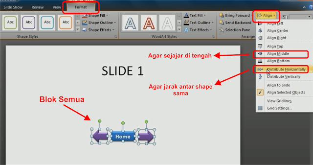 Cara Membuat Tombol Navigasi Home, Next dan Prevous pada Power Point