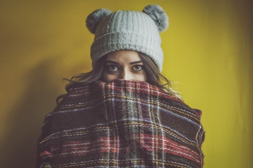 hat, blanket, woman