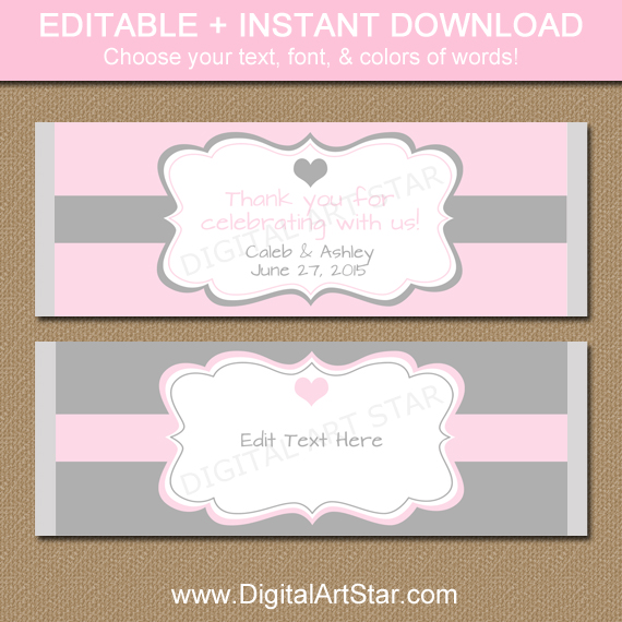 Editable Wedding Chocolate Bar Labels with Editable Text