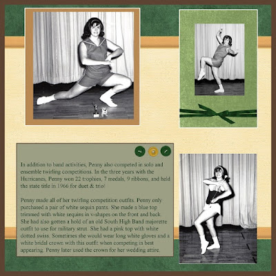 Scrapbook layout about baton twirling