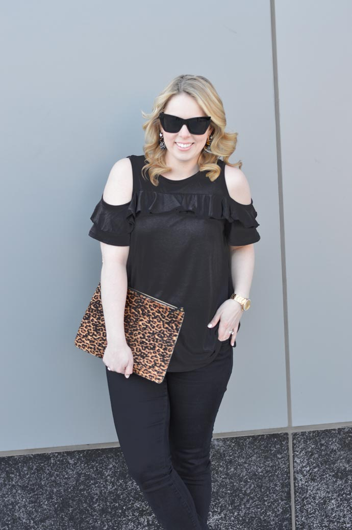 cold shoulder top spring outfit