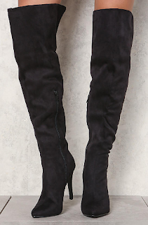 love culture black suedette over the knee boots