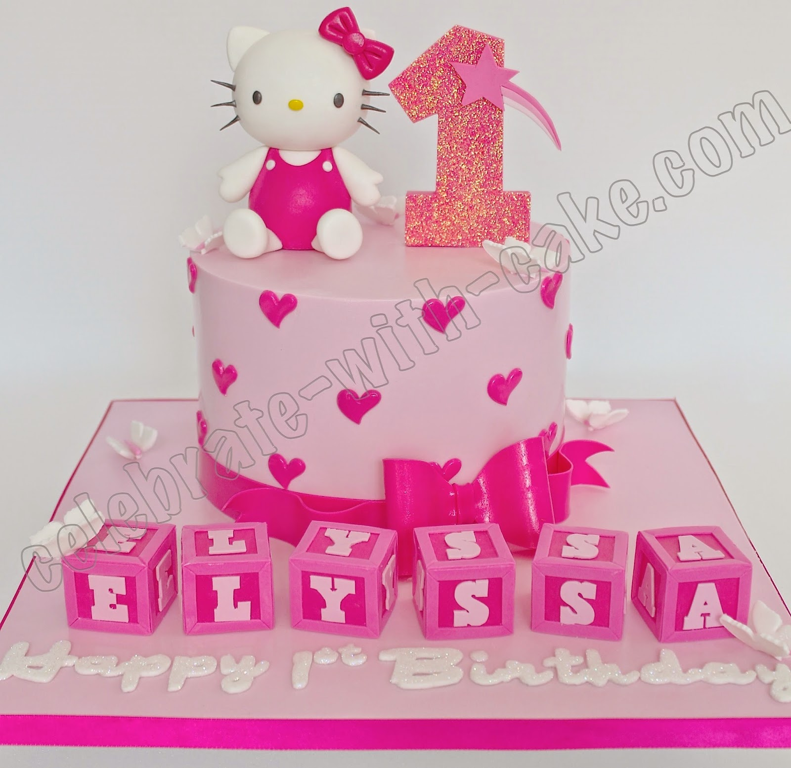 Hello Kitty With Name Blocks Single Tier 1st Birthday Cake