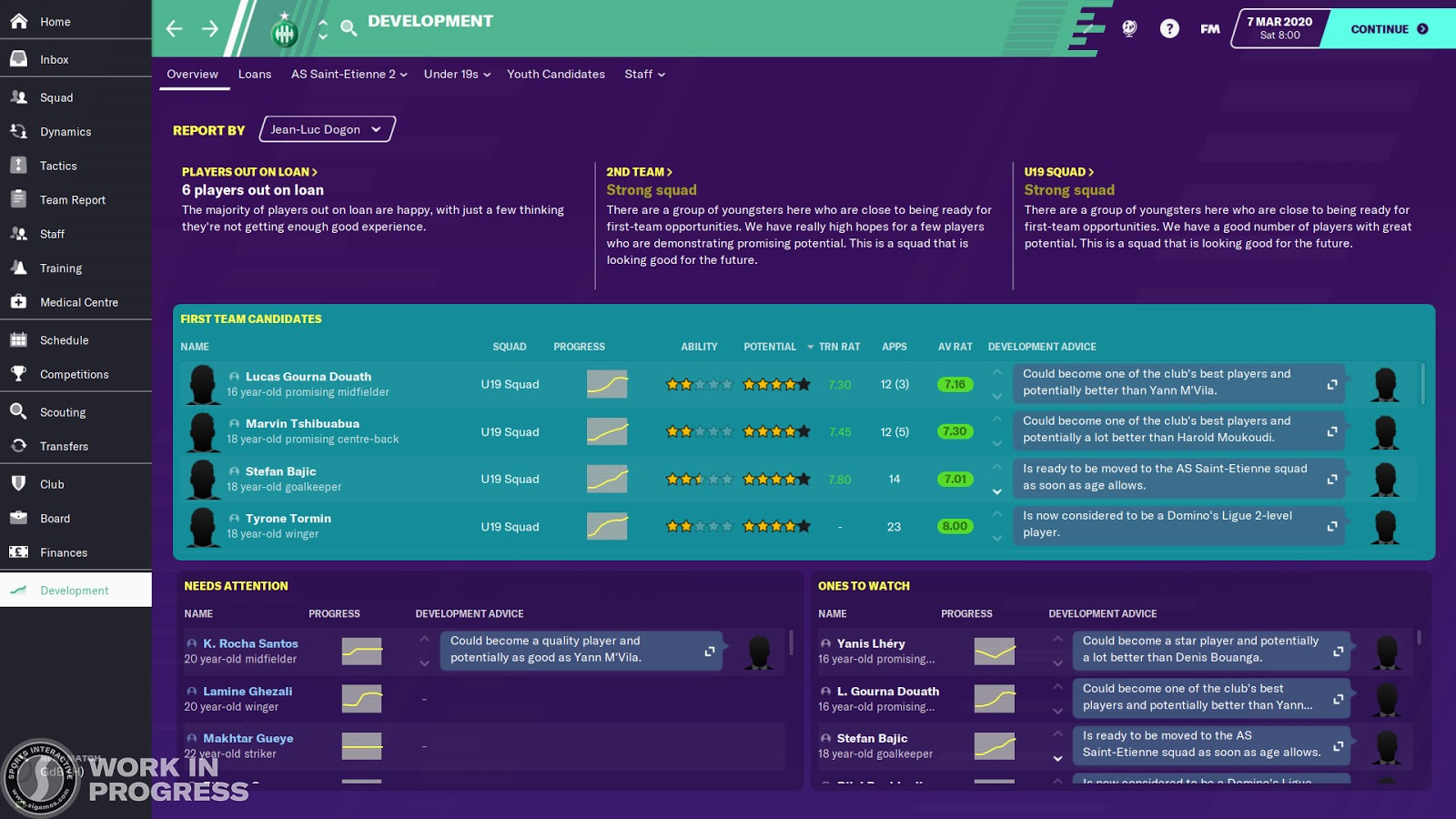 The overview screen on the Development Centre in Football Manager 2020