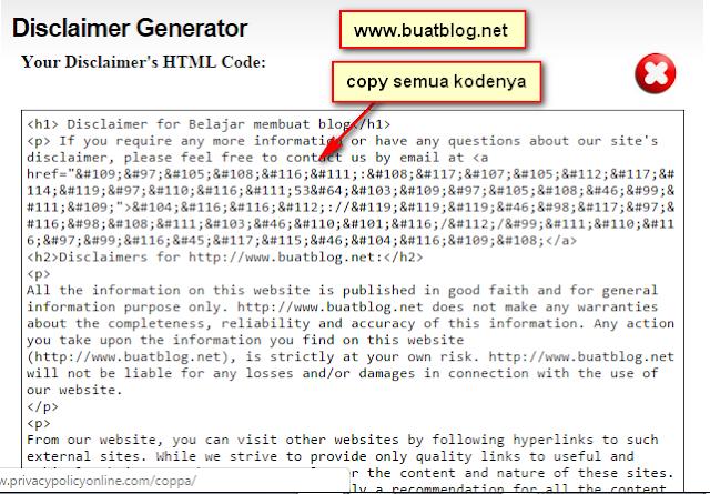 cara membuat halaman disclaimer di website