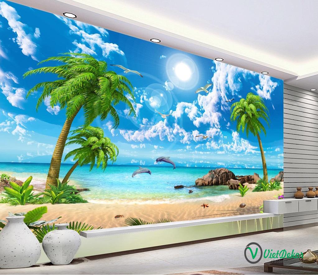 Tranh dán tường 3d phong cảnh bãi biển cá heo